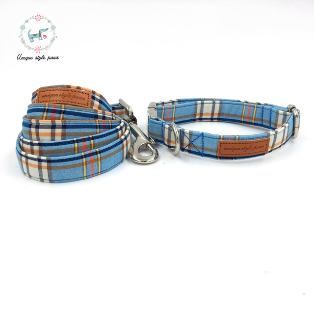 Fashion Plaid Collar and Leash set with Bow Tie 1