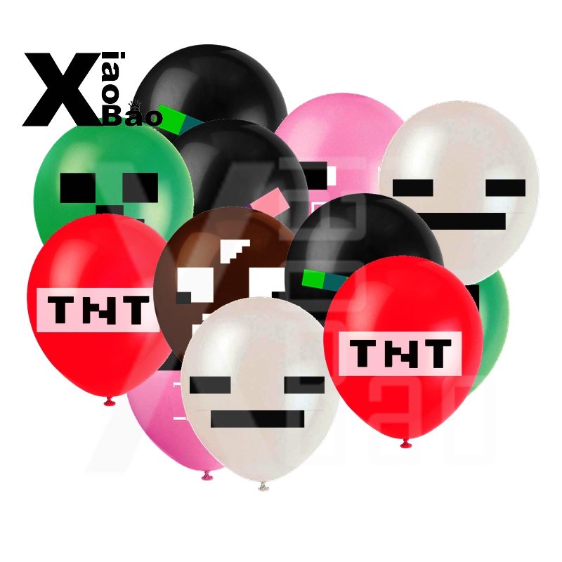 600pcs Pixel Game Latex Balloons Lovely Theme Birthday Party Decorations Supplies Toys TNT 12 Toy Foil