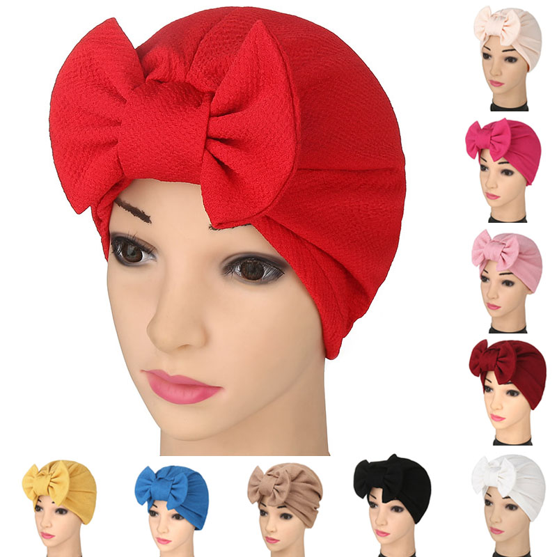 Women's Hijab Caps Hat Lady With Bow Tie Elastic Headwear Underscarf Adjustable H9