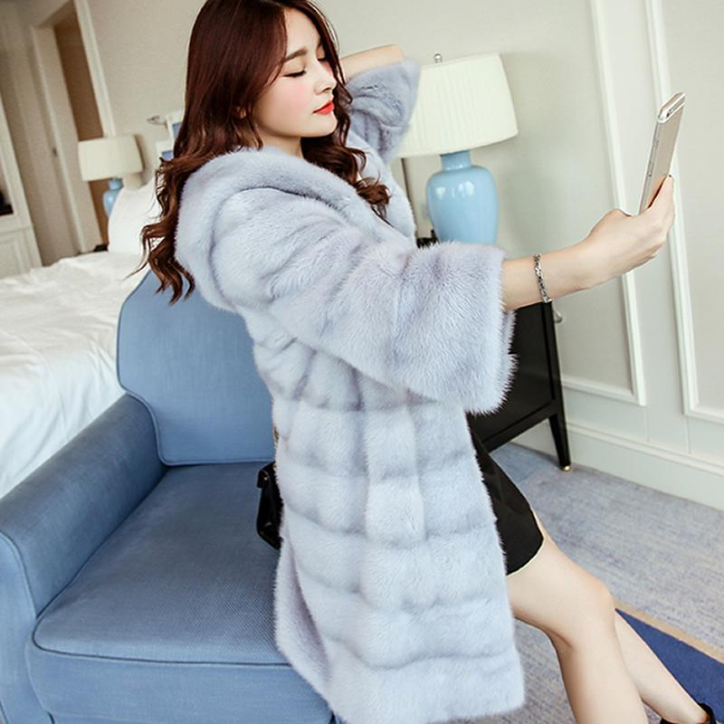 Hight Quality Winter Women Faux Fur Coat Thicken Warm Fur Long Hooded Overcoat Loose Casual Female