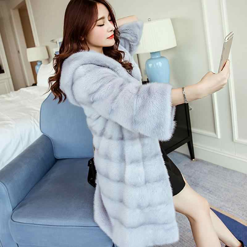 Hight Quality Winter Women Faux Fur Coat Thicken Warm Fur Long Hooded Overcoat Loose Casual Female Parka Jackets Outwear