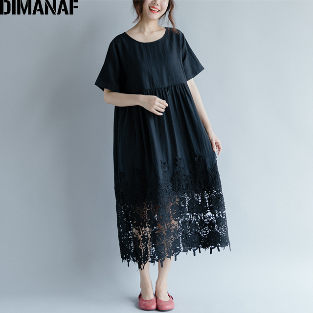 Women Dress Plus Size Summer Cotton Femme Lady Elegant Vestidos Pleated Lace Spliced Solid Black Loose Long Dresses 4