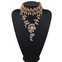 Nuevo cristal Maxi collar gargantilla collar oro color flores diseño declaración collar colgantes para las mujeres joyería regalos al por mayor