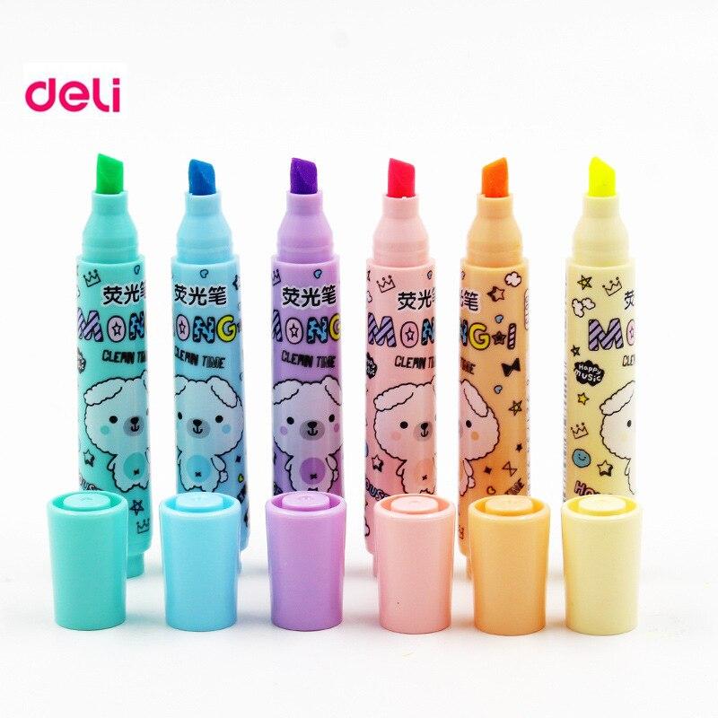Deli 6pcs/lot 6 Colors Kawaii Cute Text Separators Colored  Chancery Invisible Liner Markers Copic Art Marker Highlighters Pen
