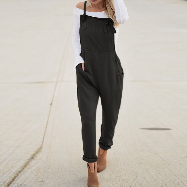 Casual Solid Strappy Sleeveless Long Playsuit 1