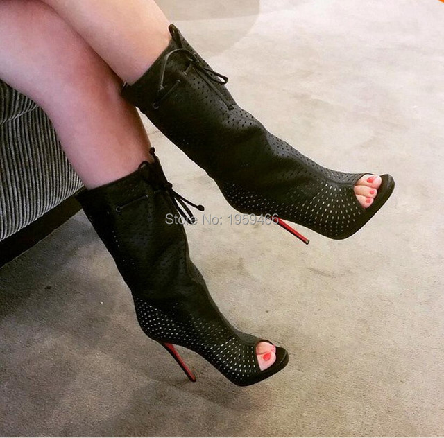 Hot Sale Women Brand Boots Autumn Summer Perforated Open-Toe Boots White  Fashion Mid-calf Lace Up High Heels Peep Toe Booties 28330e3e9
