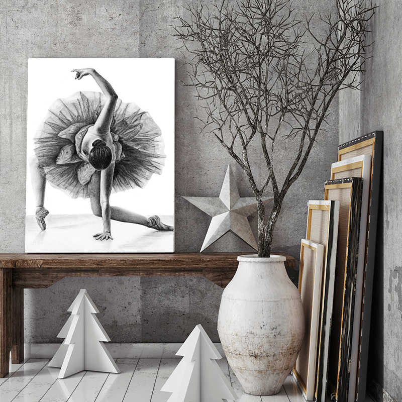 Gohipang Simple Fashion Ballet Girl Dancer Canvas Painting Art Print And Poster Picture Wall Modern Home Decoration Painting