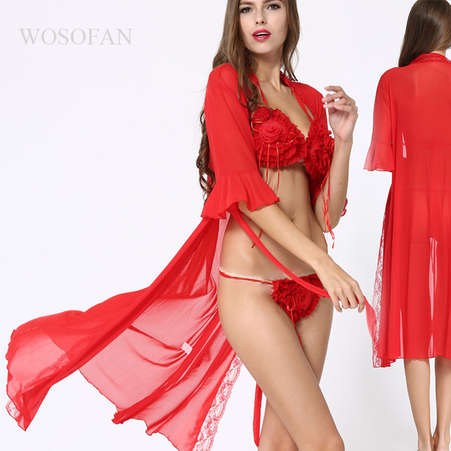 6773913770e Sexy lingerie sexy underwear Rose Halter tassel long paragraph gown Lingerie  sex costumes Bride intimates robe