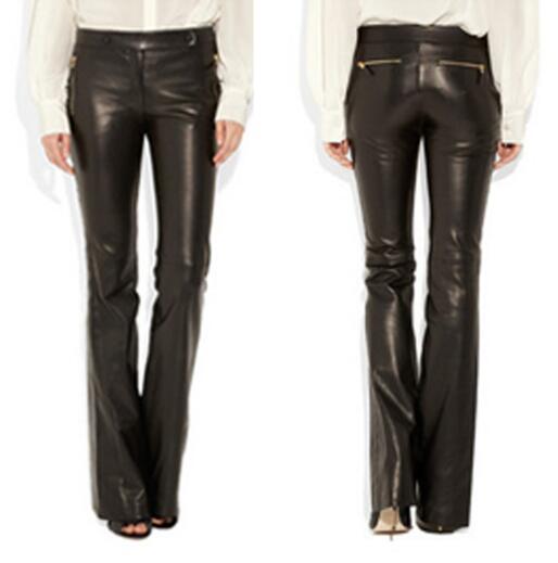 5xl S Moda Tamaño Delgado Pantalones Trompeta Black Micro Flared Más Ropa Grandes Imitación Genuino Cuero Nueva De Mujer AfwfSCxq