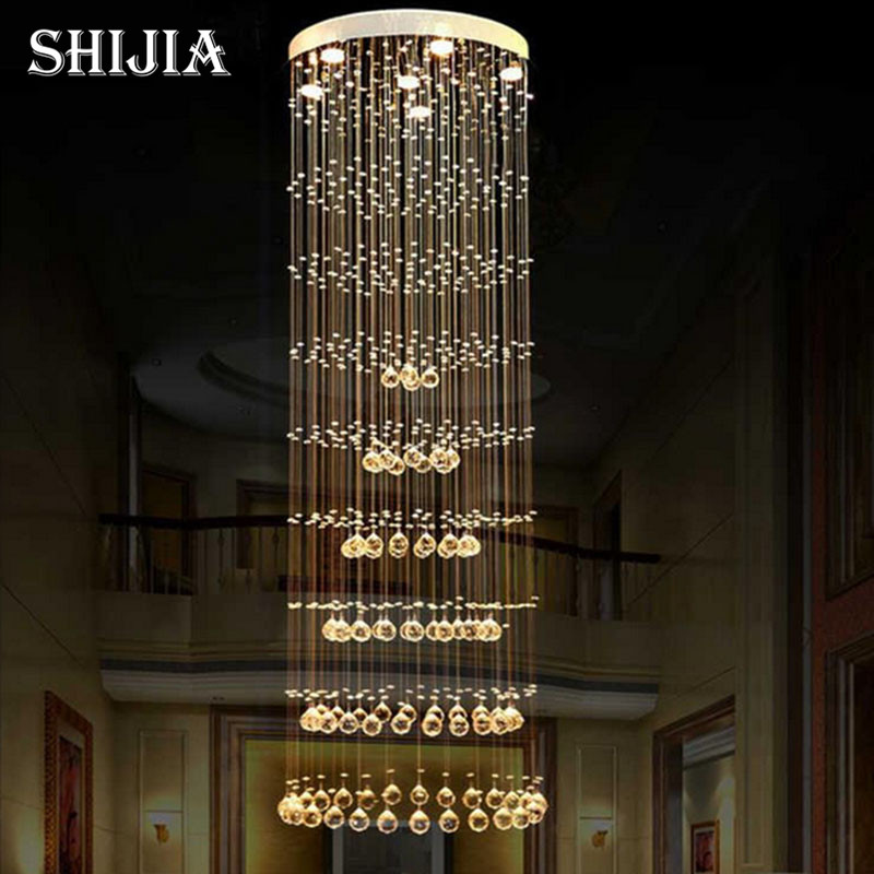 Modern Crystal Chandelier Large LED Lamps Long Big Chandeliers Holders Luxury Villa Hotel Hanging