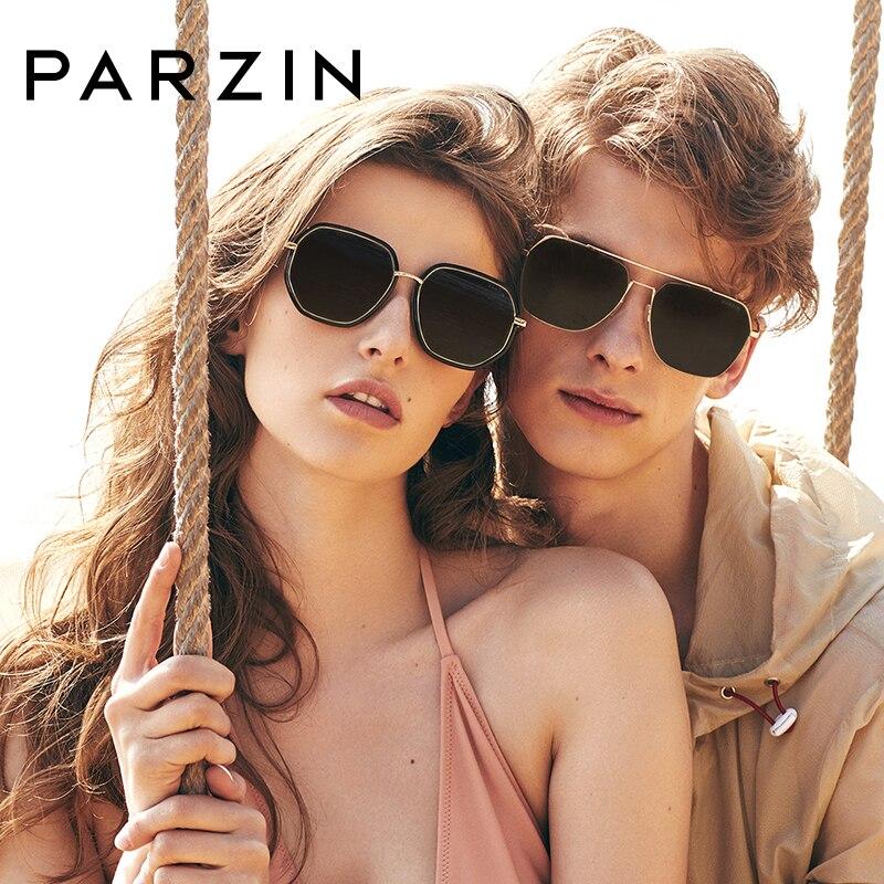 PARZIN High Quality Men s Square Pilot Sunglasses Real Polarized Driving Sun Glasses Metal Frame Men