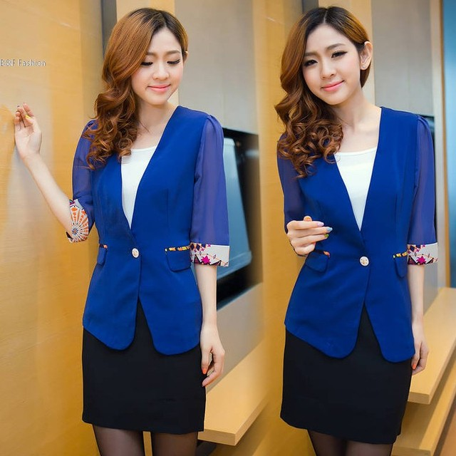 Women Chiffon Coat Pull Sleeve V-Neck One Button Retro Print Trim Small Suit Blazer Outfit Top Jackets M,L,XL 2 Colors