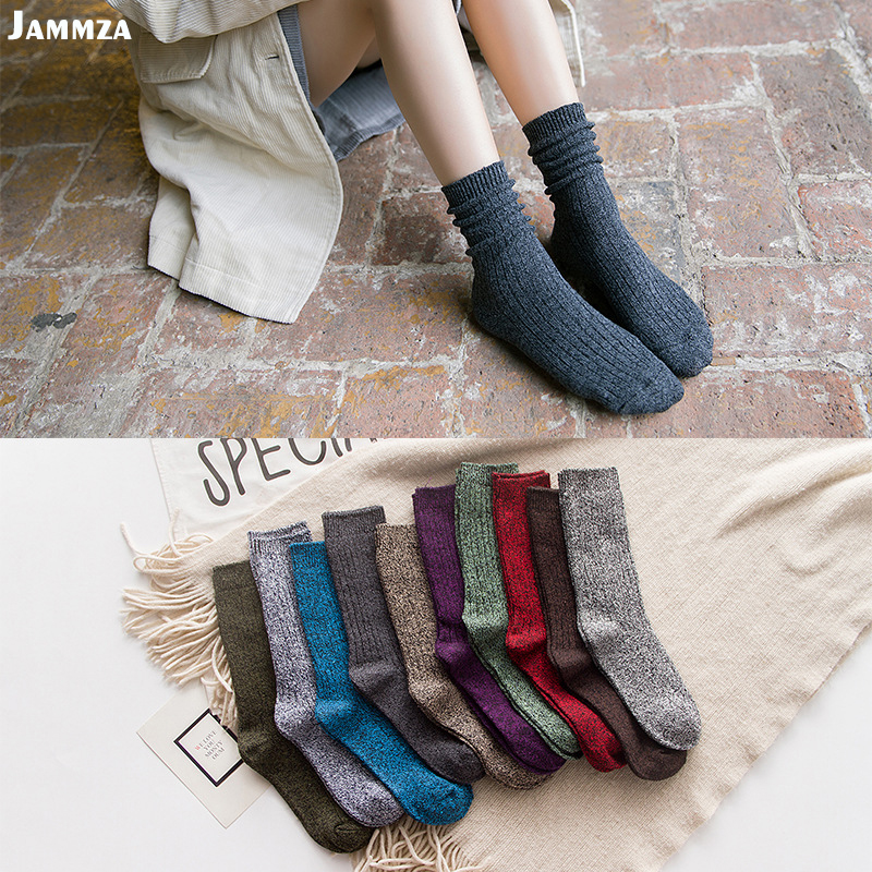 New Women Autumn Winter fashion   socks   Solid striped Silver wire sporty Girl Pile of   socks   korea cotton casual business wild sox