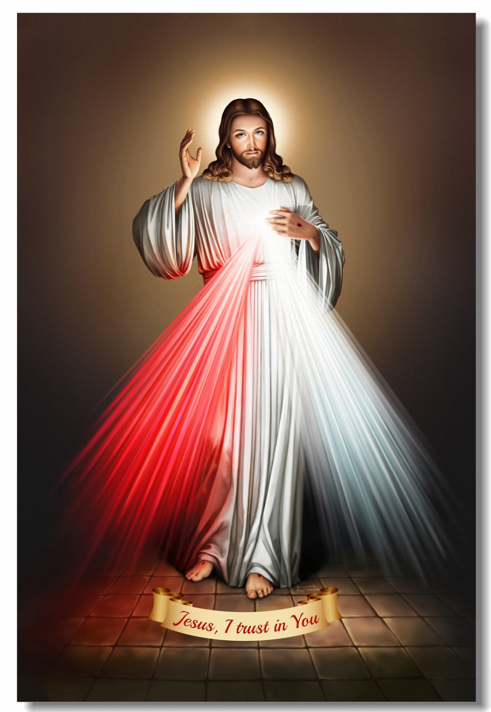 US $6 8 Custom Canvas Wall Decor Jesus Christ Poster God Bless Second Ing Wall Sticker Divine Mercy Wallpaper Bedroom Painting 1024 Wall