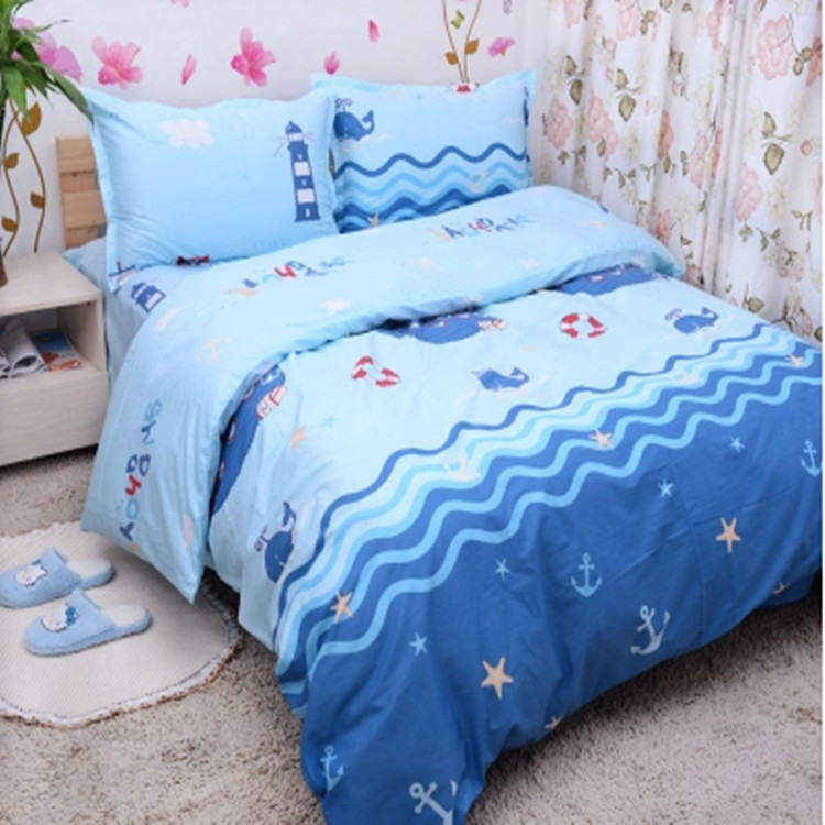 Free shipping 100%cotton kids children bunk bed cartoon anime whale 3/4pcs twin full queen size piratical vessel bedding set