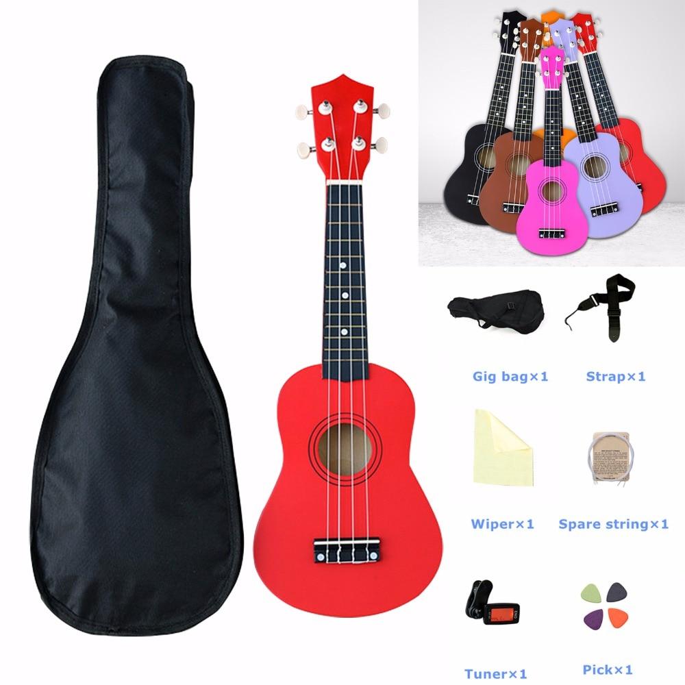 21 pouces ukulélé débutants enfants cadeaux Hawaii quatre cordes guitare ensemble d'instruments de musique Kits avec sac étui accordeur cordes Pick