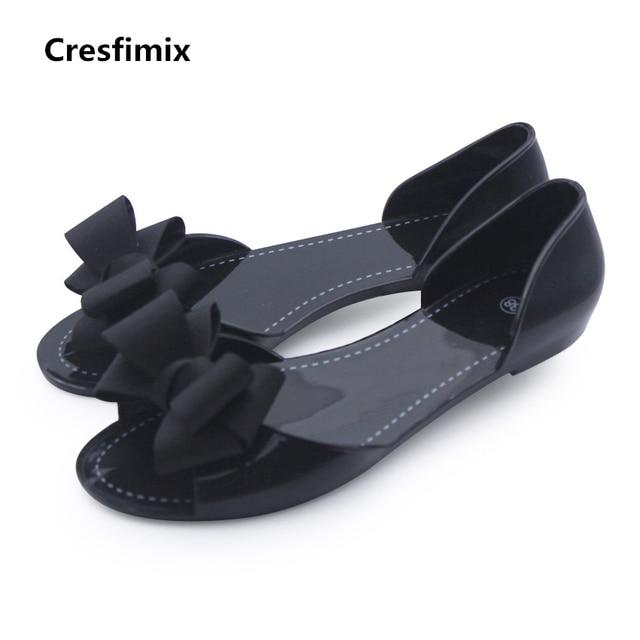 69b7d4994d8a Cresfimix sandalias de mujer women casual home   beach sandals lady cute black  bow tie jelly sandals lady casual soft sandals