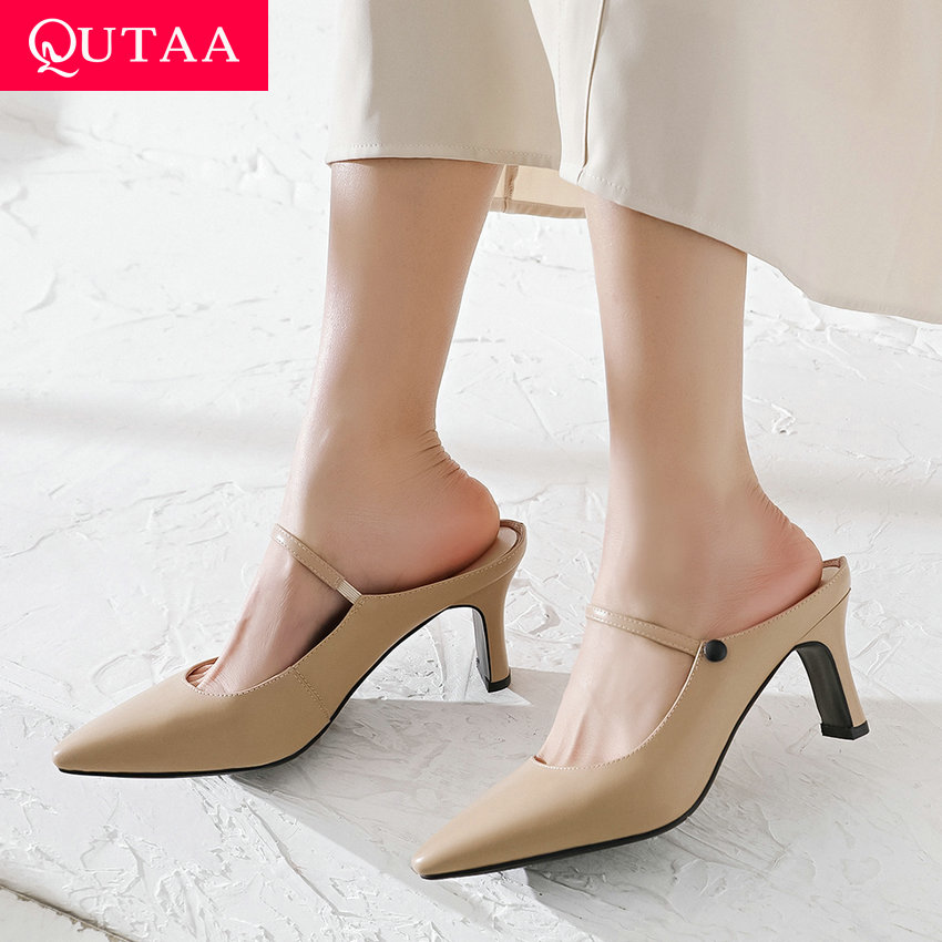 QUTAA 2019 Women Sandals Cow Leather Pointed Toe Square High Heel Slingback Anti-skid Concise Ladies Shallow Pumps Size 34-40QUTAA 2019 Women Sandals Cow Leather Pointed Toe Square High Heel Slingback Anti-skid Concise Ladies Shallow Pumps Size 34-40