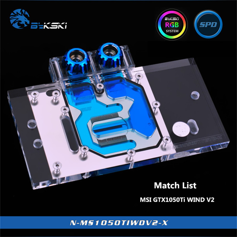 Bykski Full Coverage GPU Water Block For MSI GTX1050Ti WIND V2 Graphics Card N-MS1050TIWDV2-X цена