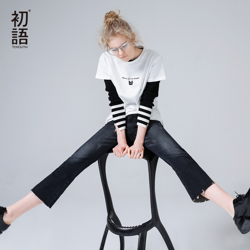 Toyouth Jeans 2017 Spring New Women Jean Pants Casual Loose Bleached Straight Denim Jeans Trousers women girls casual vintage wash straight leg denim overall suspender jean trousers pants dark blue