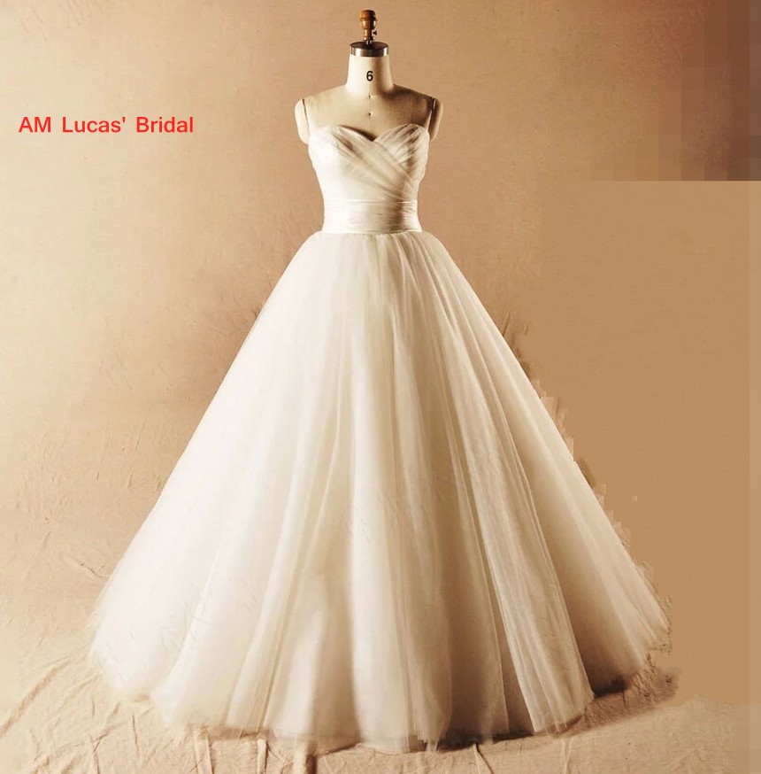 Long 2019 New A Line Wedding Dresses Lace Up Pleat Robe De