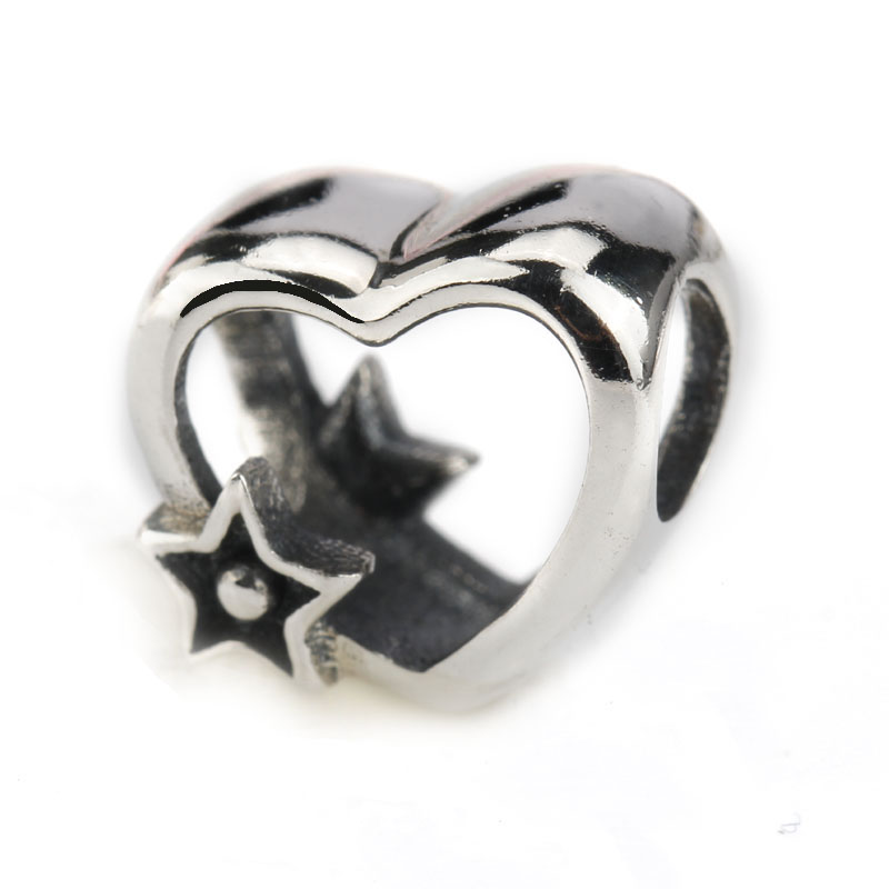 2018 Popular 925 Sterling Silver Heart Shape with Silver Star Fits Bracelet DIY Beads Making Jewelry for Women