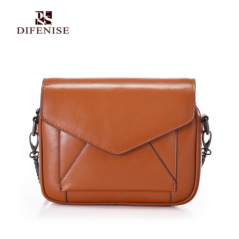 ФОТО Difenise Oil Wax Cowhide Leather Women Vintage fashion BAG patchwork shape zipper and hasp close women shoulder handbags Bag