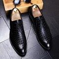 Nueva llegada de La Manera Hombres del cuero Genuino Pisos Oxford zapatos Primavera Otoño Masculina Casual de Negocios Negro zapatos de Punta-toe 022
