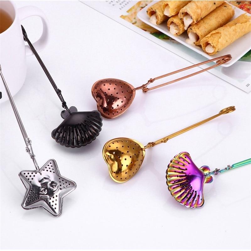 Colorful Stainless Steel Tea Strainer Heart Shape Tea Spoon Seasoning Infuser Star Shell Strainer Teaware Party Wedding Favors