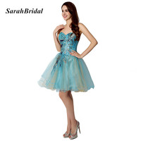 Mini Embroidery Homecoming Dresses Lace Up Back Homecoming Dresses Beaded Sweetheart Prom Gowns Vestido De Festa