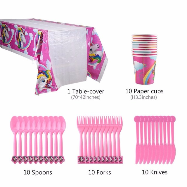 Unicorn Party Banner Gift Bag Balloons Table Covers Plate Popcorn Cup 1st