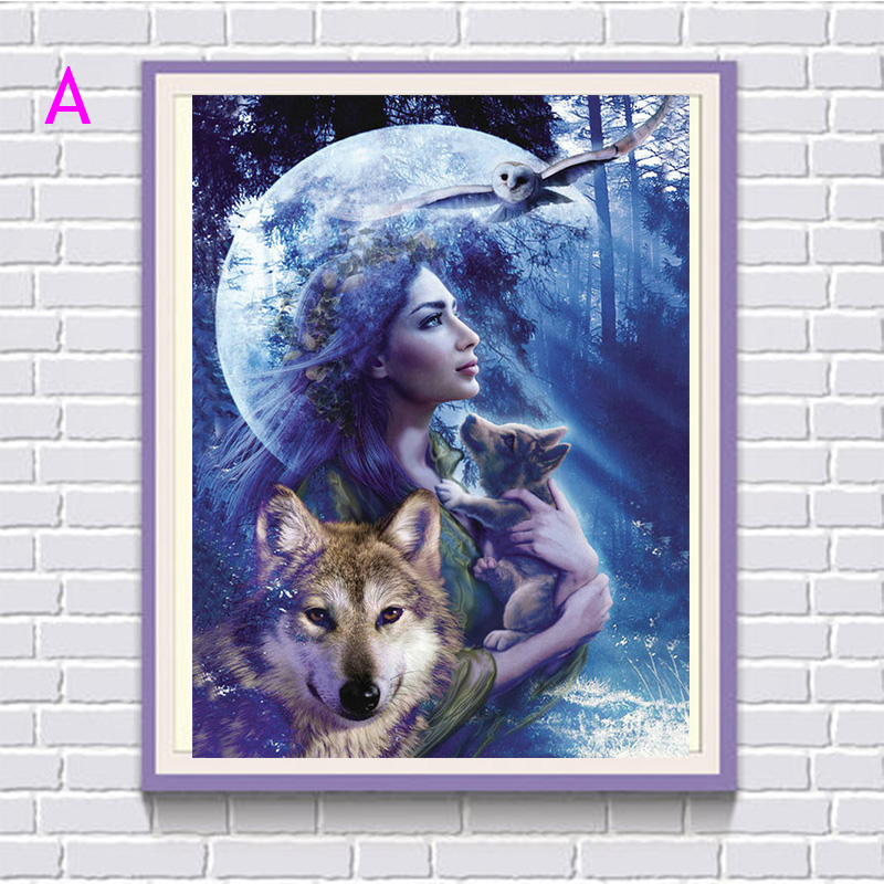 Full round diamond embroidery girl wolf 5D DIY diamond painting cross stitch Rhinestone mosaic christmas decoration gift YZ506