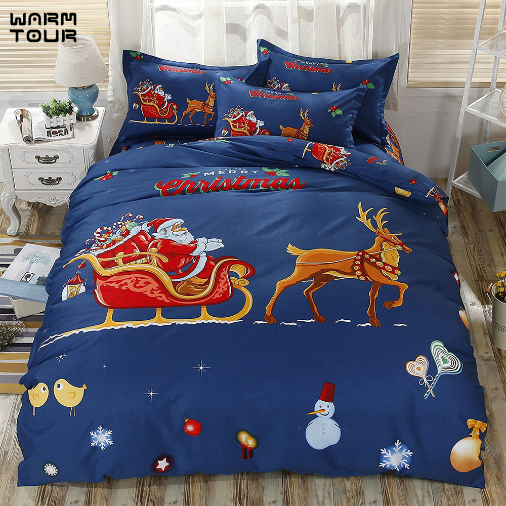 WARMTOUR 3D Red Father Christmas Bedding Set 4pcs Bedclothes Duvet ...