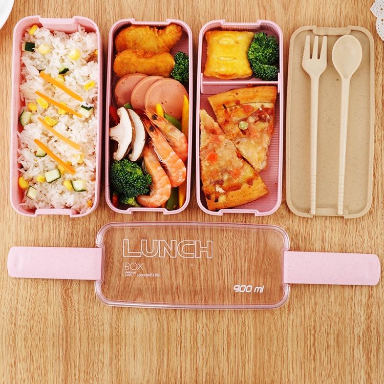 900 ml Material saludable de la caja de almuerzo de 3 capas de paja de trigo Bento cajas microondas vajilla de contenedores de almacenamiento de alimentos de Almuerzo