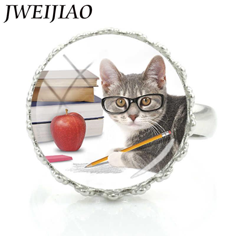 JWEIJIAO Boutique น่ารักแว่นตา Dr แมว Glass Art แหวนเครื่องประดับสำหรับสาวของขวัญปรับ Charms แหวน E796