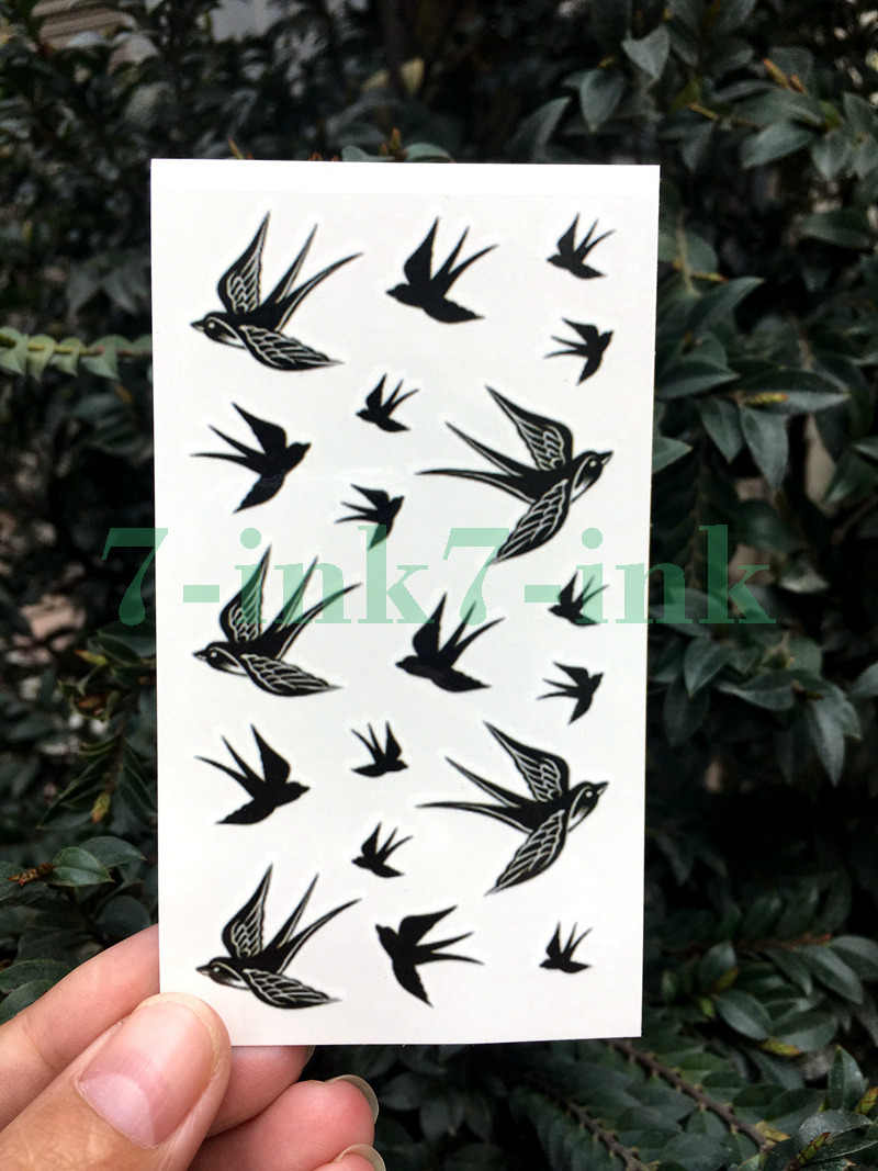 Waterproof Temporary Tattoo Sticker black white pigeon Swallow bird tattoo flash tatoo fake Water Transfer  tatto for Woman Man