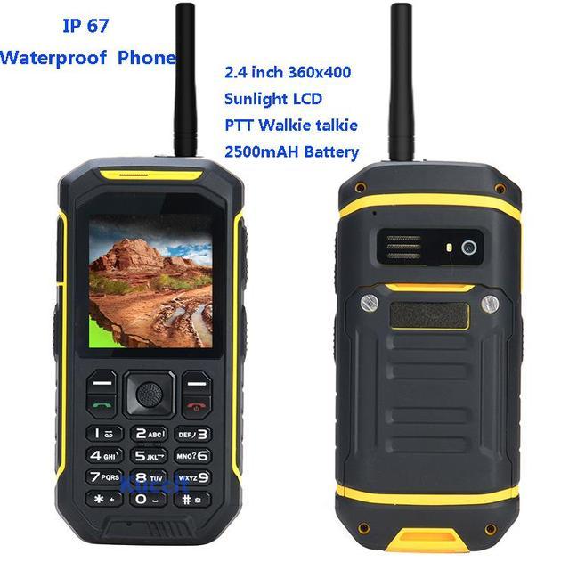 IP67 Resistente A Prueba de agua a prueba de golpes teléfono Walkie Talkie de Radio PTT X6 luz solar LCD GSM Senior viejo teléfono celular Dual sim S6 sonim