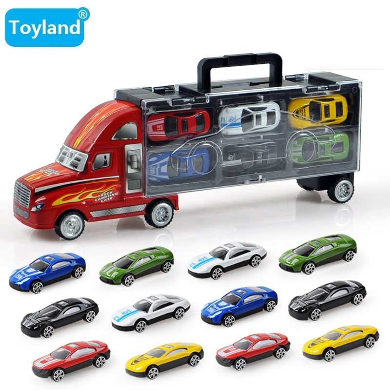 HOT!!! 13-in-1 Haulage Truck Pixar Cars Small Alloy Models Toy Car Children Educational Toys Simulation Model Gift For Boys Toys