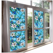 90*200cm Colored Orchid Decorative film Privacy Window Foil Film Glass Sticker Static Opaque bathroom door Stained Home Decor