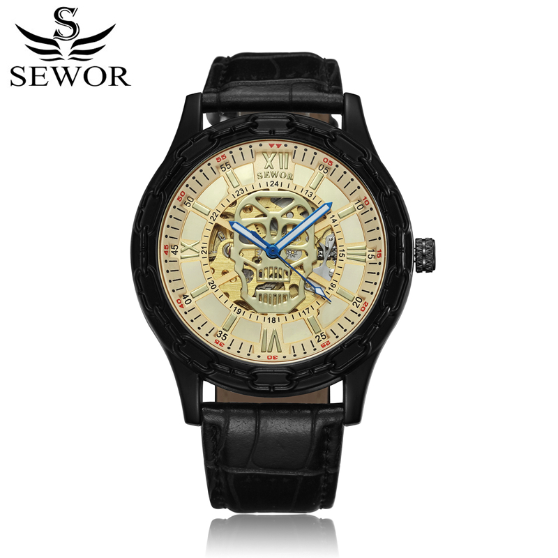 SEWOR Men Watch Mechanical Automatic Self-Wind Leather Strap Luxury Man Watches Skull Pattern Skeleton Clock With Box SWQ49 luxury cool high quality automatic self wind skeleton hollow dial mechanical watch with leather strap gift to men