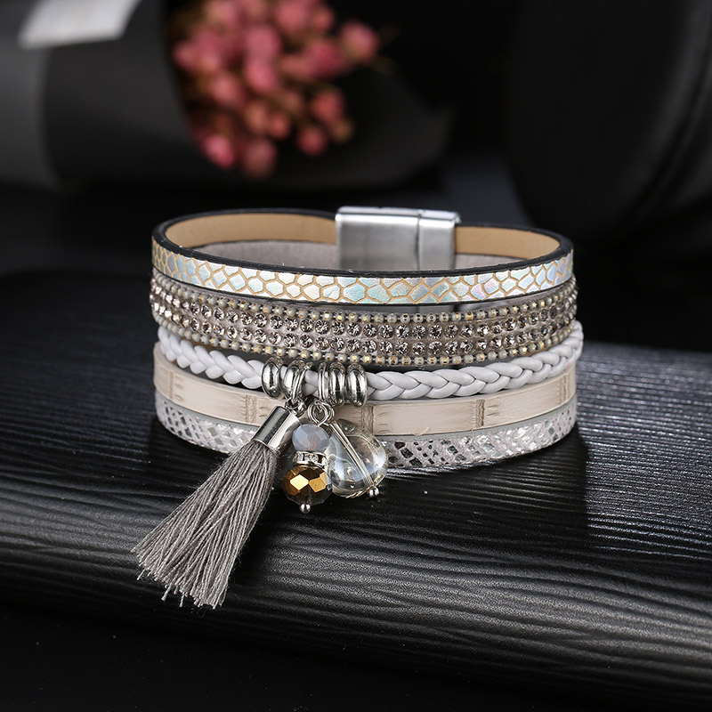 ZG 4 Color Vintage Punk Star Leather Bracelets Men Wristband Multilevel Geometrical Bracelet Jewelry