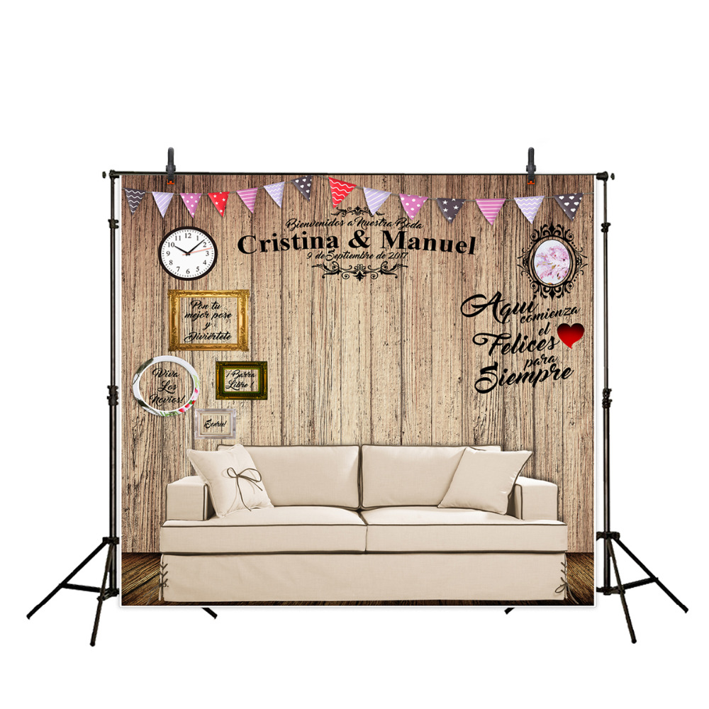 Allenjoy DIY Wedding photography background romantic wood board Custom name date phrase backdrop photocall italian visual phrase book