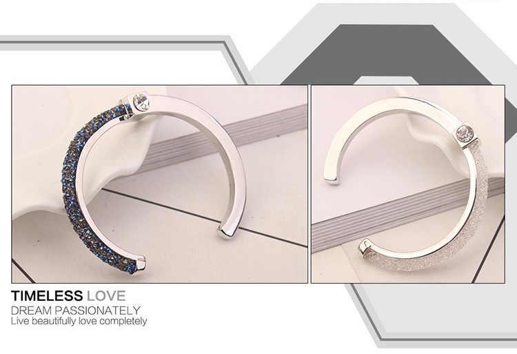 Anngill Verstelbare Open Crystal Van Swarovski Armbanden & Bangles 2 Kleur Manchet Armband Voor Vrouwen Sieraden Cadeau Voor Meisjes