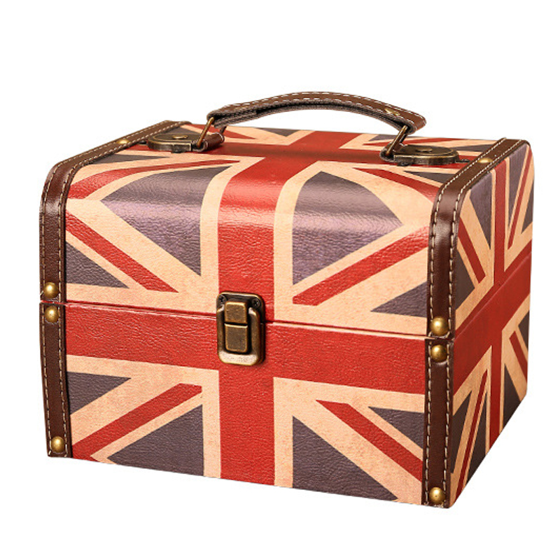 American Retro British Style Flag Model Jewelry Box Storage Boxes Ornament Creative Leather Sundries Storage Finishing Small Box