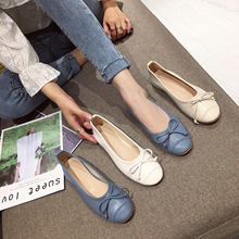 Liren 2019 Summer New Fashion Casual Lady Vulcanize Shoes Bow Decoration Sweet Style Round Wrapped Toe Flat Heels