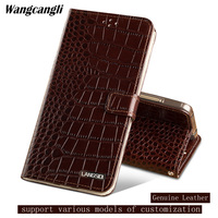 phone case for Samsung galaxy 8 All Hand made Leather Clamshell buckle for samsung galaxy a5 2017 case Crocodile pattern