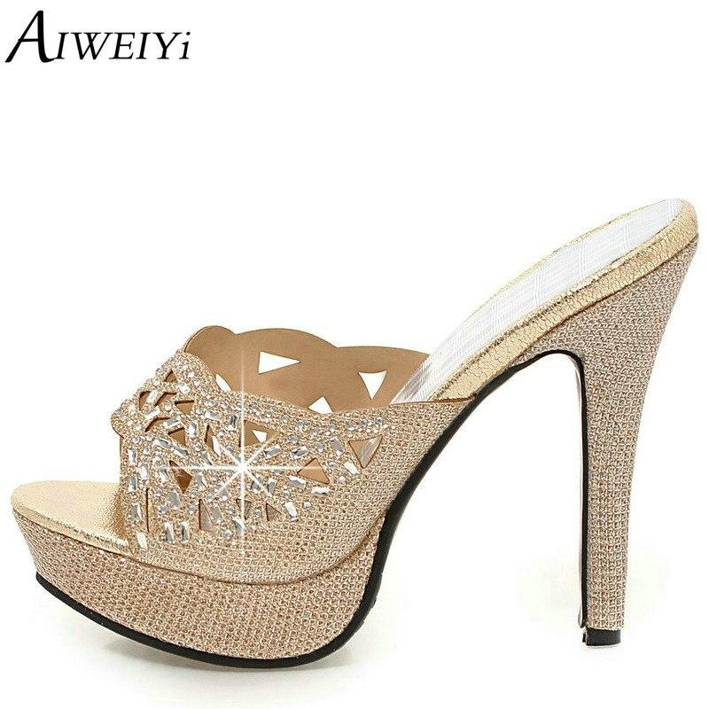 Aiweiyi/Обувь женщина цвета: золотистый, серебристый со стразами Босоножки на высоких каблуках сандалии-гладиаторы на платформе женские Вьетн...