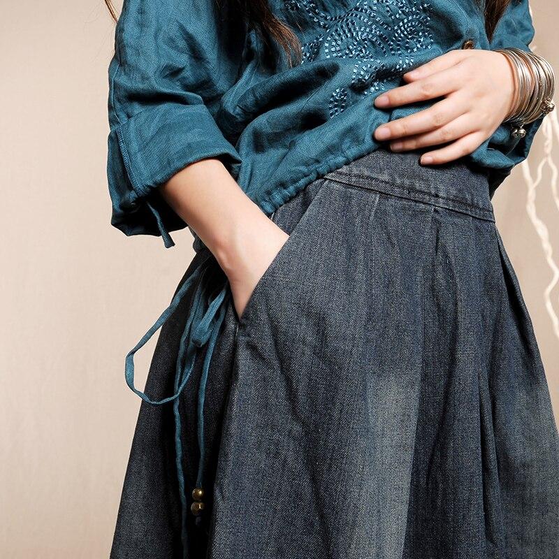 Darmowa wysyłka 2019 moda chiński styl długi Maxi linii elastyczny pas Plus Size kwiatowy Print Denim Jeans kobiety Patchwork spódnica w Spódnice od Odzież damska na  Grupa 3
