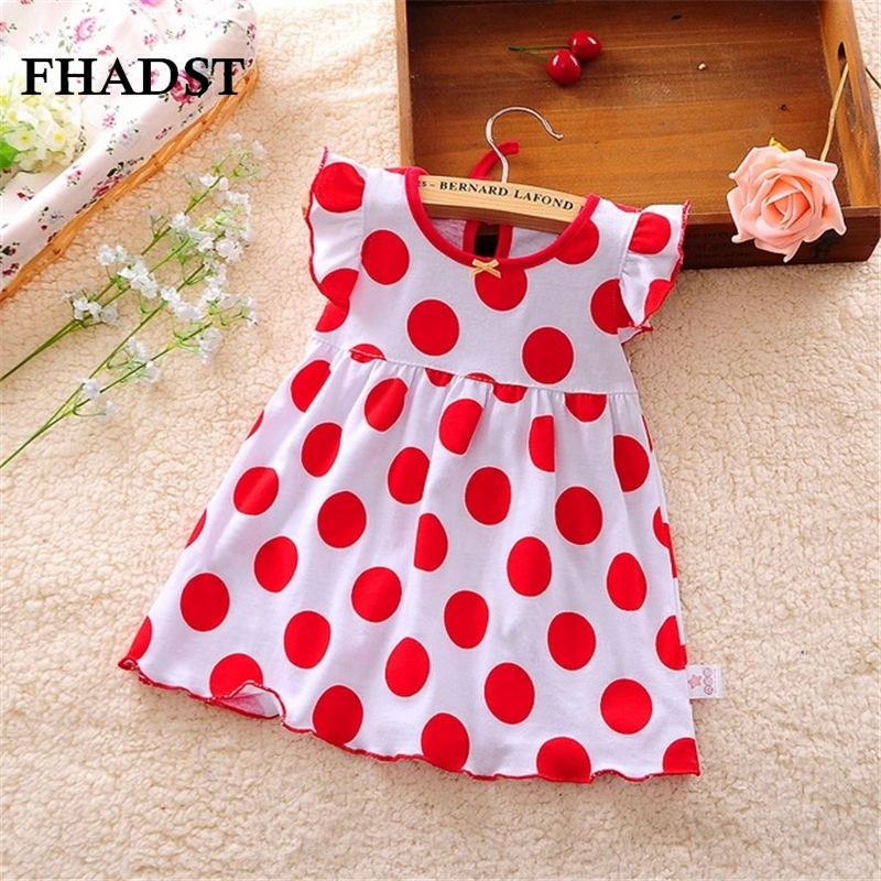 FHADST 2017 Hot Summer Baby Girl Dresses Red Dort Infantil Cotton Regular Clothing Sleeveless Clothes Printed Kids Casual Dress
