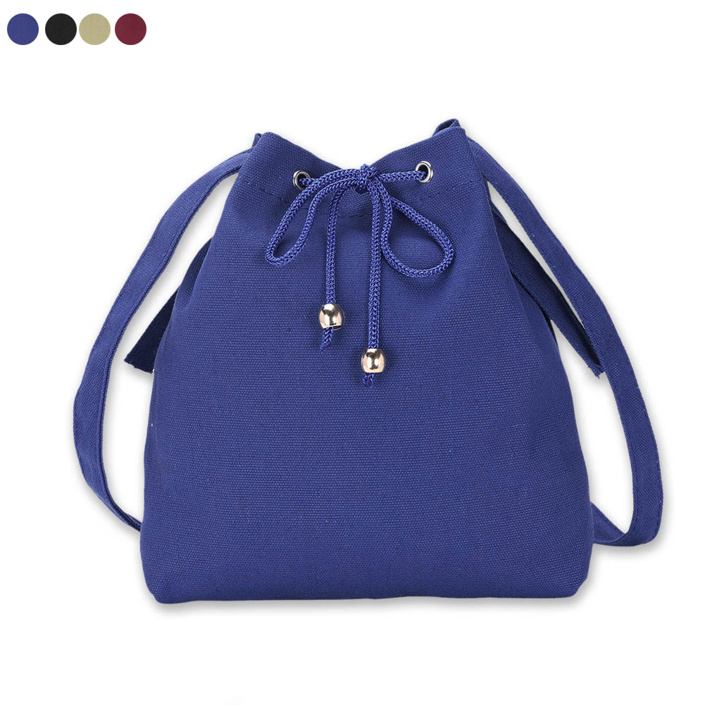 Bucket Bag Canvas Drawstring Solid Color Ladies Girls Vintage Crossbody Messenger Shoulder Bags LBY